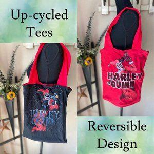 Up-cycled Reversible Harley Quinn T-Shirt Tote Bag